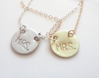 Mrs. Necklace, Gold Filled Chain, Gold Brass, Charms, Bride, Weddings, Bridal, Sterling Silver, Monogram, Gift, Jewelry, Jewellery