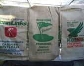 set of 3 Burlap seed sacks