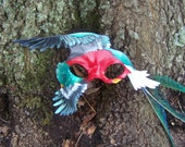 Harbinger of Hope - Leather Quetzal bird Masquerade Carnivale Mardi Gras mask Guatemala - Made to Order