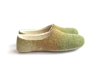 Handmade wool felted slippers - earth- spring color-grass green-moss-beige
