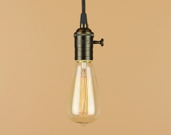 Industrial Pendant Light - Antique Reproduction Cloth Wire - Edison Light Bulb - Minimalist Home Decor
