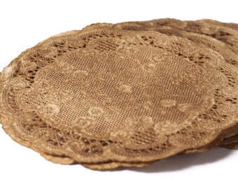 Vintage Style Walnut Stained Lace paper Doilies - Round doilies grungy rustic stained old fashioned.