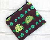 SALE Small Coin Pouch Brown Green Turtles