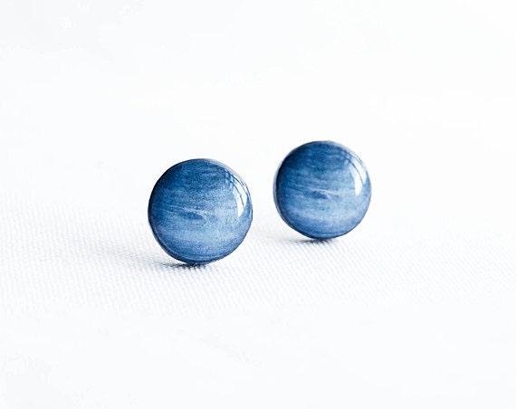 Neptune stud earrings - Space earrings studs, cosmic jewelry, planets, galaxy post earrings