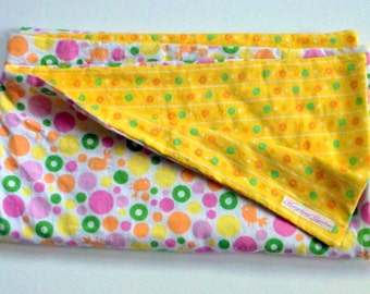 Yellow with Dots  Baby Blanket  Large and  Doublesided