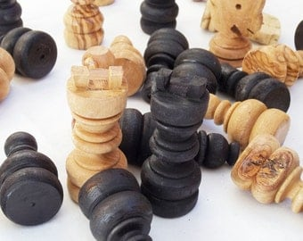 Olive wood hand carved large chess pieces, wooden rustic natural black chess board pieces, birthday gift