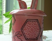 Thrown Lidded Jar- Rabbit ears, feet, and tail - Crimson / red / rose