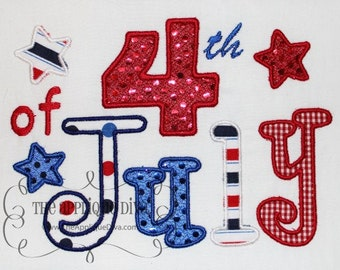 4th of July  Embroidery Design Applique
