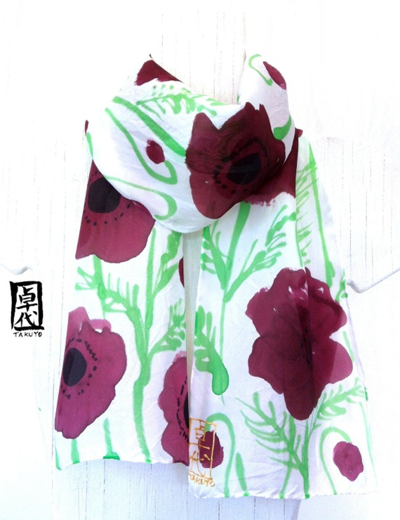 Silk Scarf Hand Painted Purple Floral Scarf, Purple Poppies. Handmade Silk Scarf.  Approx 7.5x52 in.