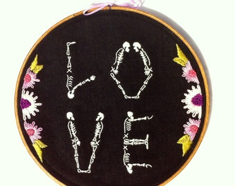 LOVE Skeletons. Hand Embroidered
