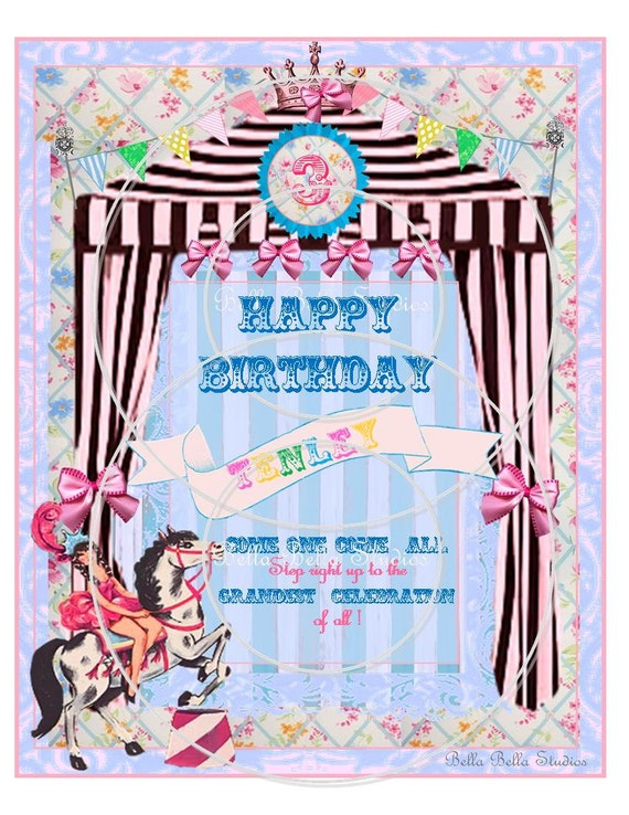 Vintage CIRCUS Birthday Party Girl and Horse CUSTOM Printable Birthday DOOR-Table Sign by Bella Bella Studios