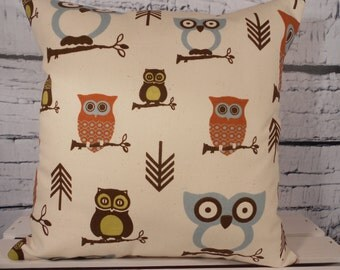 Owl pillow cover - four color combinations to choose from - pillow insert sold separately