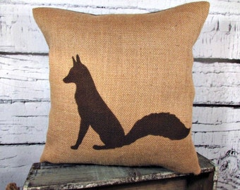 Burlap fox pillow - perfect for a rustic nursery - child's name can be added