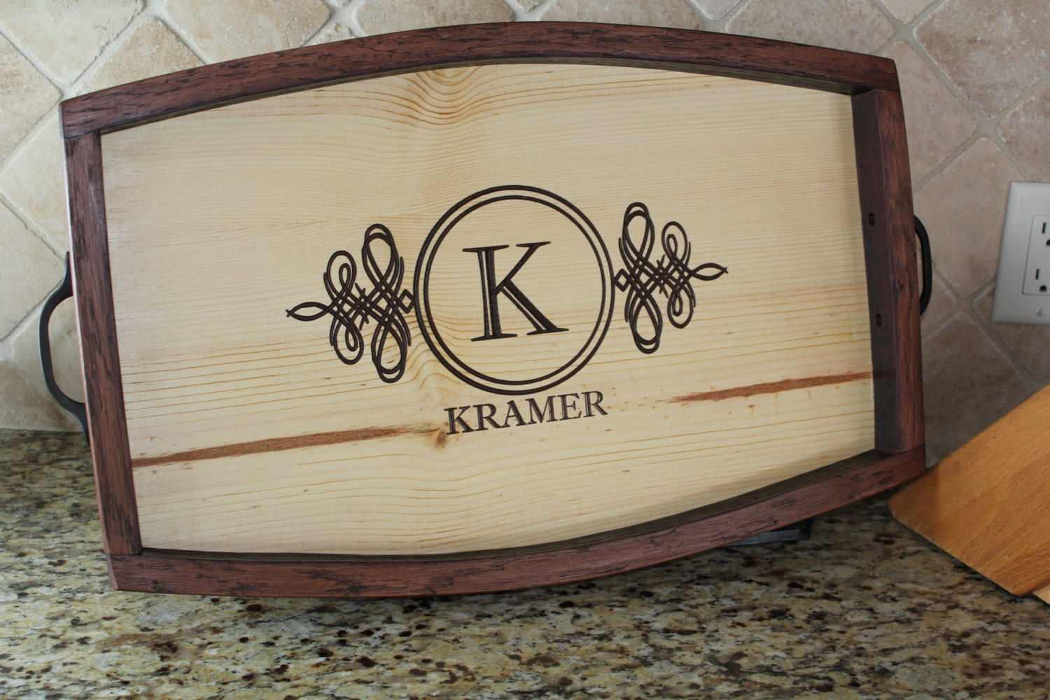 personalized wine barrel stave serving tray housewarming gift