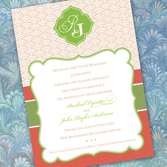 bridal shower invitations, coral and lime bridal shower invitations, coral and lime wedding invitations, lime and coral birthday, IN198