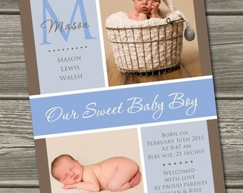 Baby Boy Birth Announcement (Digital File) Hudson - I Design, You Print