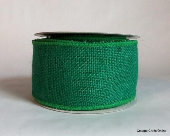 Burlap wired ribbon 2 1 2 kelly green natural jute ten for Green burlap ribbon