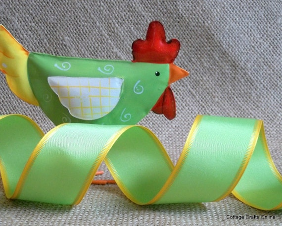 """Wired Edge Ribbon, 1 1/2"""" wide, Citrus Green Yellow Edge - THREE YARDS - Offray """"Fling"""" Citrus Spring, Easter, Summer Wire Edged Ribbon"""