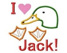 I heart Duck Head-Feet Jack - Applique - Machine Embroidery Design - 6 Sizes