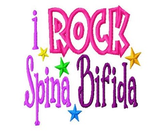 I ROCK Spina Bifida - Applique - Machine Embroidery Design -  8 sizes