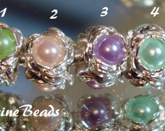 Imitation Pearl Silver Plated Beads Choice of Colors fits European  Style Charm Bracelets WhitePineBeads
