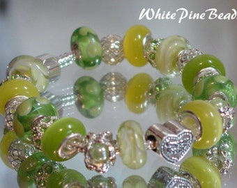 SOMEONE SPECIAL , Mom, SiS , GranMa or Nana European Charm Bracelet Handmade Murano Glass Lampwork Bead  By White Pine Beads