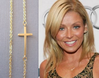 Sideways Cross Necklace, Gold CrossChoker,  Celebrity Inspired Necklace