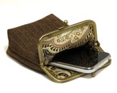Smartphone Case / Fabric Cigarette Case - Woven Brown fabric - Antique Bronze Frame