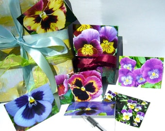 Mini Flower Note Cards, Gift Tags,  Place Holders - Set of Six - Pansies, Holidays, Celebrations