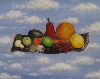 Award winner - Solomon's Flying Feast - original - fruit still life flying carpet clouds