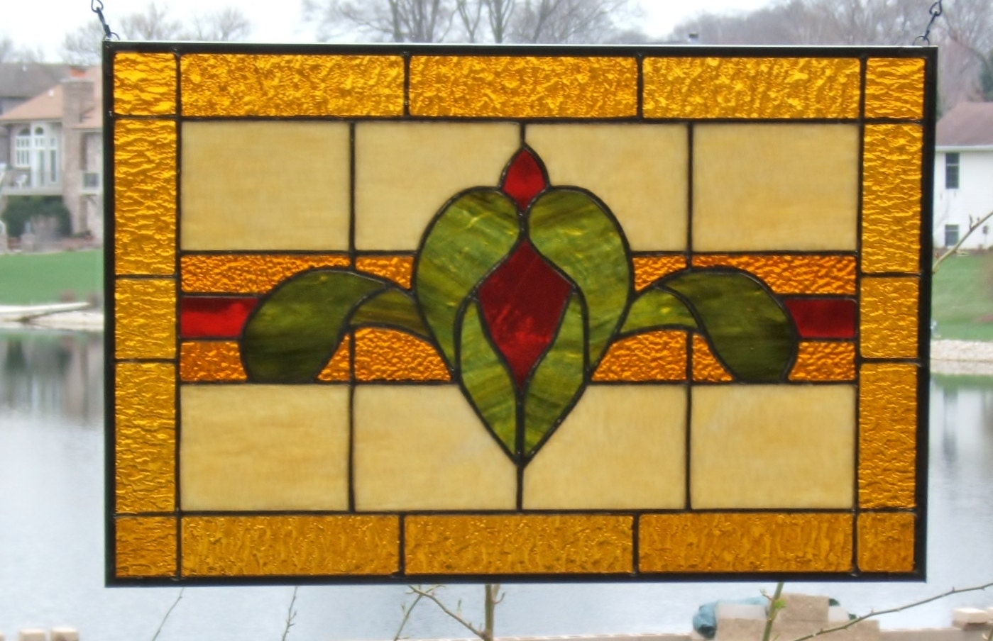 Simple Victorian Stained Glass Panel Window Red Amber Stained