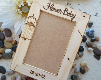 Flower Girl Frame for your Flower Baby Personalized Wood Frame with HER Dress and your Wedding Date or Her Name