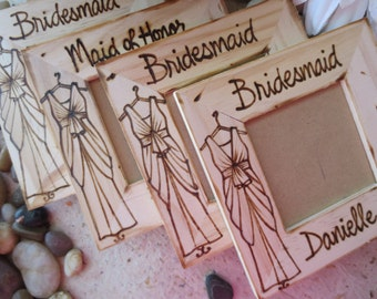 Bridesmaid Favors SET of 4 Custom Wood Frames - Let our Artist Replicate YOUR Bridesmaid's Dresses Personalized Gifts