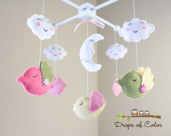 """Baby Crib Mobile - Baby Mobile - Bird Mobile - Decorative Nursery Mobile """"Five Birds Sleeping at Night"""" (You can pick your colors)"""