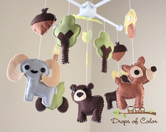 "Baby Crib Mobile - Baby Mobile - Nursery Forest Crib Mobile - ""Forest Little Creatures"" (You can pick your colors) Mobile - Crib Mobile"