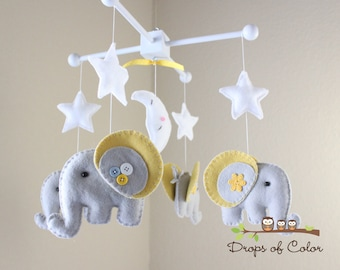 "Baby Crib Mobile - Baby Mobile - Elephant Mobile - Neutral Nursery Mobile - ""Rock-a-Bye-Baby Elephant"" (You can pick your colors)"