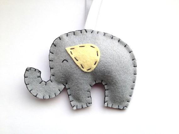 Items Similar To Felt Elephant Ornament Grey And Yellow Elephant Nursery Decor Yellow And Gray
