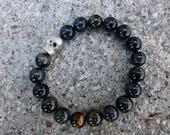 RESERVED for Rusty: Skull & Blue Tiger's Eye Bracelet