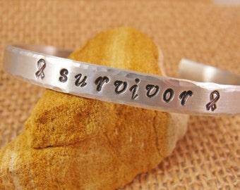 Cuff bracelet - Cancer Survivor Bracelet - Cancer Awareness Jewelry - Hand Stamped Cuff Bracelet -Ready to Ship