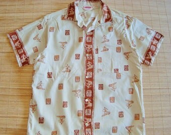 Mens Vintage 50s Pilgrim Surf Surfer Surfing Hawaiian Aloha Shirt - M - The Hana Shirt Co