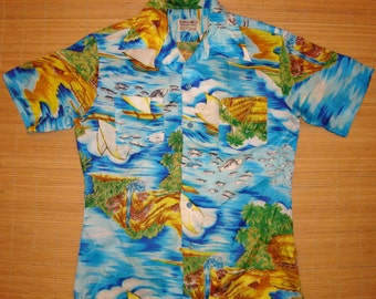 Men's Vintage 70s Jimmy Buffet Tribal Tiki Hawaiian Aloha Shirt - S - The Hana Shirt Co