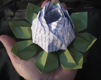 I LOVE YOU Origami Lotus. Unique Valentine Gift, Wedding Decoration, Favor. Just Because. Under 10