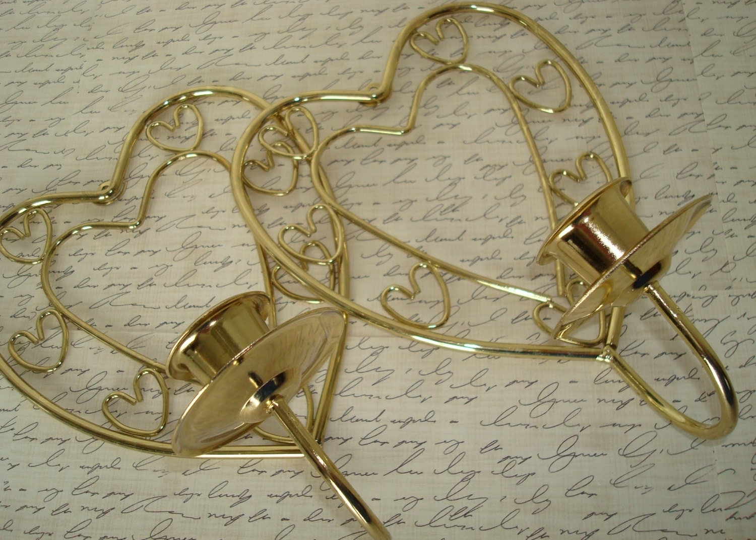 Brass heart wall sconcesvintageHome by TapersnPetals on Etsy