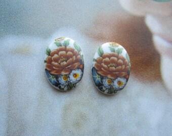 Vintage Porcelain Floral Cabochons 25x18mm 2Pcs.