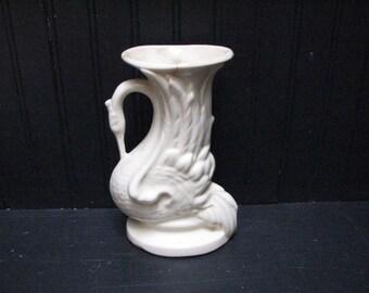 antique figural swan , cornucopia vase ,creamware .art deco vase , 1930's