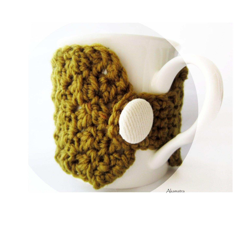 Khaki crochet cup cozy khaki mug cozy coffee cup cozy