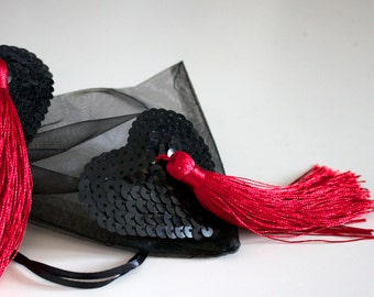 Heart Tassels in Black and Red