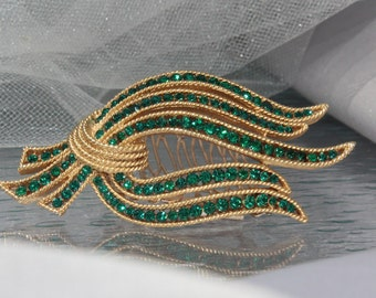 Vintage 1950 Rhinestone Wedding Brooch/Haircomb Emerald Green Crystals, Trifari