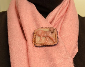 Hunting Fox Pin - Peruvian Opal and Pink Lepidolite - Pink Purple and Earth Tones