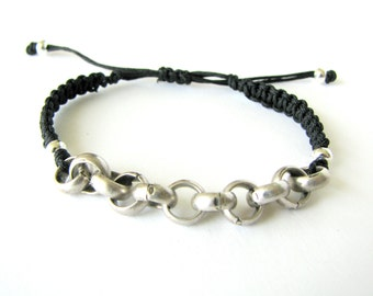 Silver Chain Macrame Bracelet with Black Thread and Silver Metal Beads